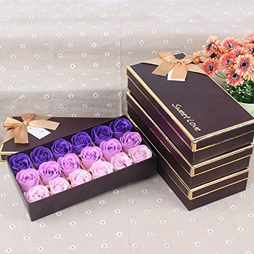 ストローク流産ナインへWeryn(TM)結婚式のためのギフトボックスバレンタインデーの愛の贈り物で18バラセット香りの入浴ソープローズソープ花びら[Purplegradient]
