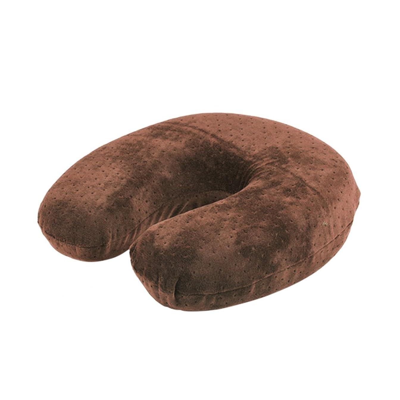 回復形隠されたU字型枕、ビロードの反発の記憶泡の首の頭部の頚部枕残り旅行クッション(Brown)