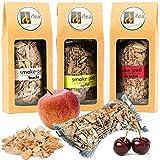 BBQ Set Räuchern ohne Smokerbox oder Räucherbox - Räucherchips Set Apfel Buche Kirsche - Chips Gasgrill Smoker Kohlegrill
