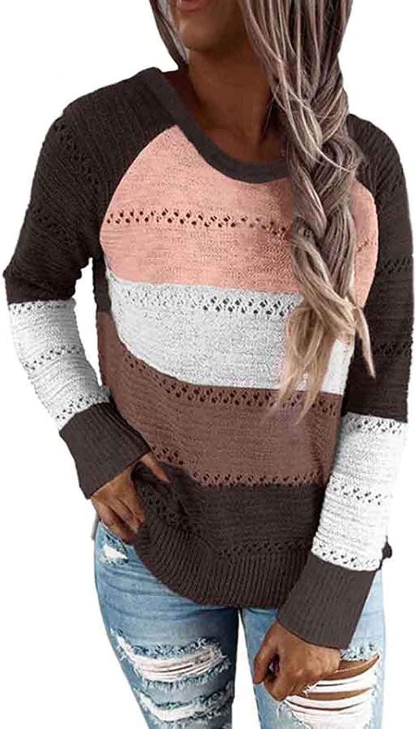 Women's Striped Color Block Hoodie Long Sleeve Sweater Knitted V Neck Casual Pullover Tops