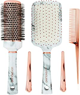 Lily England Hair Brush Set - Paddle Brush, Round Blow Drying Hairbrush, Comb & Clips, Marble & Rose Gold
