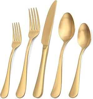Matte Gold Silverware Set, Satin Finish 20-Piece Stainless Steel Flatware Set,Kitchen Utensil Set Service for 4,Tableware ...