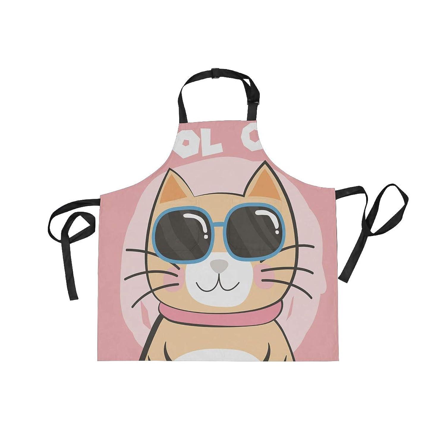 ショート反対に維持Chovy エプロン 女性用 H型 おしゃれ キッチンエプロン メンズ 男性用 猫柄 ねこ おもしろ 可愛い ピンク カフェエプロン 仕事用 家庭用 保育士 美容院 男女共用 作業 動きやすい 前掛け ポケット付き