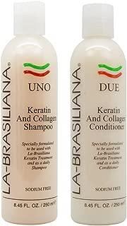 LA-BRASILIANA UNO Keratin And Collagen Shampoo 8.45oz + DUE Conditioner 8.45oz Combo Set Sale!