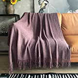 LOMAO Knitted Throw Blanket with Tassels Bubble Textured Soft Blanket Lightweight Throws for Couch Cover Home Decor (Pale Lavendar, 50x60)