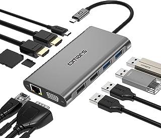 ドッキングステーション 11-in-1 USB C ハブ トリプルディスプレイ Omars USB Type C ハブ HDMI 変換アダプタ【デュアル 4K HDMI出力ポート / 1080P VGAポート/ PD 100W 急速充電ポート...
