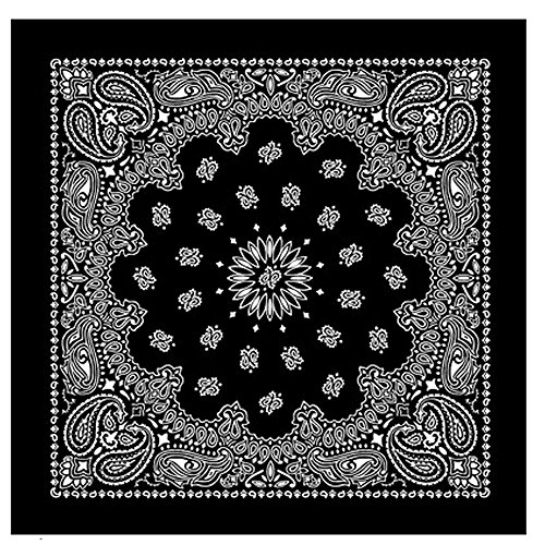 Large BLACK Cotton Square Bandana Scarf Round Western WHITE PAISLEY 27 inch by TC-Accessories