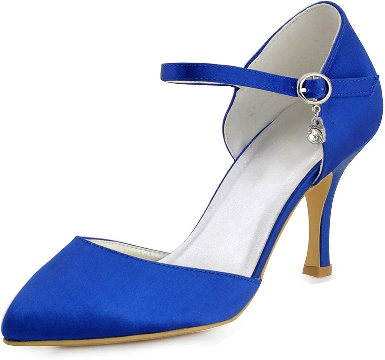 ZHRUI Mädchen Handmade Satin Braut Hochzeit Abend Pumps Schuhe (Farbe   Blau-6.5cm Heel, Größe   8.5 UK)  | Umweltfreundlich