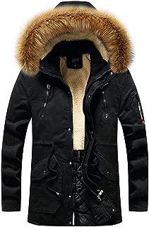 Funnygals - Men's Fleece Jacket Winter Warm Ski Jackets Windproof Heavy Weight Cotton Parka Long Jackets Coats Hoodies
