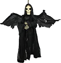 Flying Ghost with Sounds and Flashing Red Eyes Hanging Animated Grim Reaper Skull Props Vampire Halloween Decoration