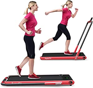 GYMAX Folding Treadmill, 2 in 1 Under Desk Electric Running Machine with Bluetooth & LED Screen, Portable Walking Machine for Home, Office, Gym
