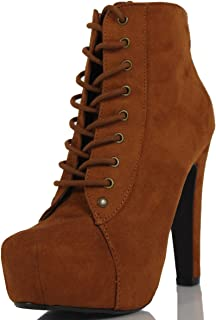 Women's Scala Faux Suede Lace Up High Heel Ankle Bootie