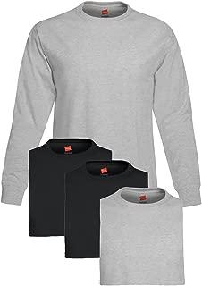 Men's 4 Pack Long Sleeve T-Shirt, XXX-Large, 2 Black / 2 Light Steel