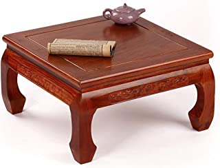YANGLAN Solid Wood Tatami Small Coffee Table, Rosewood Square Square Window Table, Chinese Antique Low Table Tea Table, Mahogany Furniture 39×41×21.5cm
