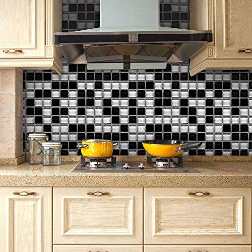 Bodhi2000 Wall Sticker, 20 x 500 cm mosaico extraíble autoadhesivo azulejos anti-aceite impermeable adhesivos pared adhesivos DIY cocina baño hogar decoración