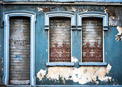 YongFoto 7x5ft Shabby Chic Oude Huis Voordeur Achtergrond Peeling Beton Muur Rustieke Achtergronden voor Fotografie Grunge Brick Vinyl Foto Achtergrond Persoonlijke Portretten Studio Props