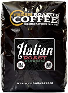 Fresh Roasted Coffee LLC, Italian Roast Espresso Coffee, Artisan Blend, Dark Roast, Bold Body, Whole Bean, 5 Pound Bag