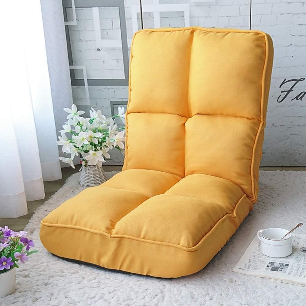 YLCJ Faltbare gepolsterte Boden Stuhl Sessel Baumwolle und Leinen Faltbare 6-Gang-Einstellung Casual Einzelzimmer Wohnzimmer 108x45x17cm (Farbe: BRAUN) Yellow