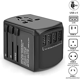 Universal Travel Adapter, International Power Adapter, Worldwide Plug Adaptor with 4 USB Ports, High Speed 4.5A Wall Charger, All in One AC Converter for USA UK AUS Europe Asia Cell Phone Laptop