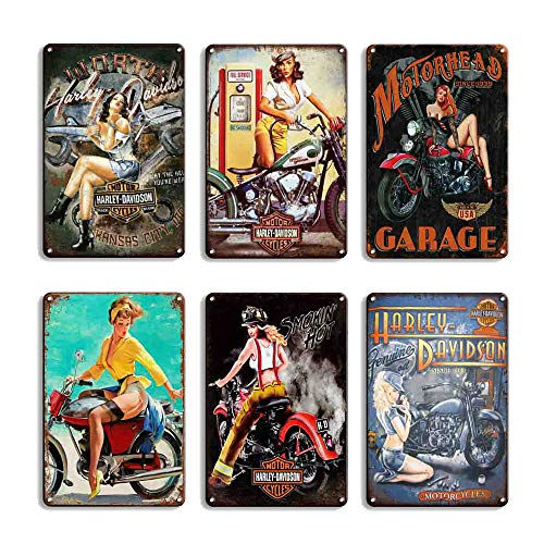 FlowerBeads Vintage Tin Signs Hot Rod Wall Sticker Home Decor House Office Garage Iron Paintings Metal Paintings (6PCS-motol Girl)