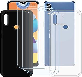 TTJ Svart + genomskinligt skal för Samsung Galaxy M01S + [4 stycken] HD pansarglas, mobiltelefonfodral silikon skyddande f...
