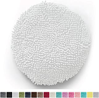 Gorilla Grip Original Shag Chenille Bathroom Toilet Lid Cover, 19.5 Inchx18.5 Inch Large Size, Machine Washable, Ultra Soft Plush Fabric Covers, Fits Most Size Toilet Lids for Bathroom, White