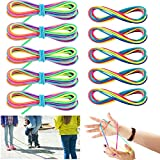5 Pieces Cats Cradle String Hand Game String Finger Game String and 5 Pieces Chinese Jump Ropes Colorful Stretch Rope Elastic Fitness Game for Outdoor Exercise, Rainbow Color