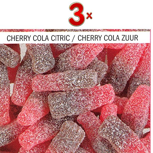 Astra Cherry Cola Citrics 1 x 3kg Packung (saure Fruchtgummi-Kirschcolaflaschen)