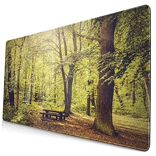 Großes dekoratives Gaming-Mauspad,Picknicktisch im Wald Laubgrün Naturthema Som,lange Computermausmatte mit rutschfester Gummibasis für Büro/Spiele/Zuhause