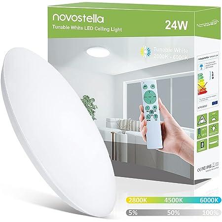 Novostella Plafonnier LED 24W 2650lm Blanc Froid et Blanc Chaud 2800K-6000K Dimmable avec Télécommande, IP65 Étanche Lampe de Plafond Rond 30CM, Lampe Salle de Bain pour Chambre, Cuisine, Couloir