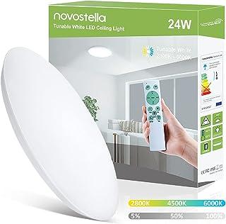 Novostella Plafonnier LED 24W 2650lm Blanc Froid et Blanc Chaud 2800K-6000K Dimmable avec Télécommande, IP65 Étanche Lampe...