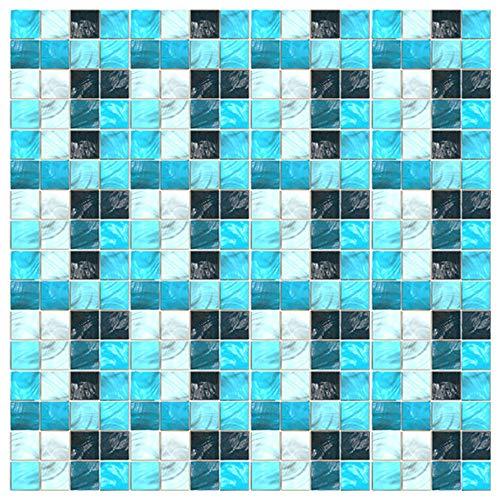 Kitchen-dream Carta da Parati a Mosaico Carta Parati Piastrelle Bagno Cucina Servizi igienici Adesivi murali autoadesivi Impermeabili Resistenti allolio Sfondo Mosaico in PVC 10 * 10cm*19pcs