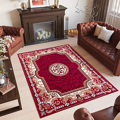 Tapiso Scarlet Teppich Kurzflor Traditionell Teppiche in Rot mit Klassisch Floral Bordüre Medaillon Muster Ideal für Wohnzimmer, Schlafzimmer...