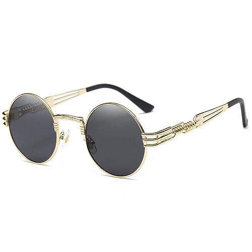 Gold Round Sunglasses: