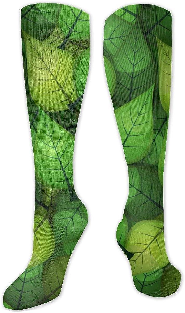 Spring Green Leaves Knee High Socks Leg Warmer Dresses Long Boot Stockings For Womens Cosplay Daily Wear