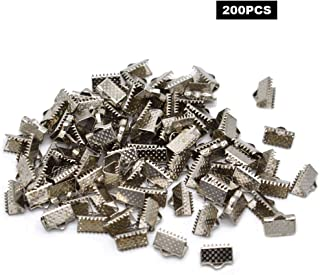 200PCS Ribbon Ends Fastener Kneading Clamp Ends Clasps Textured Crimp Ends 10mm