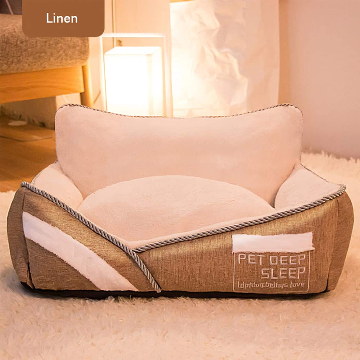 Pet Nest, Beveled Letter, Embroidered Square, Removable And Washable Small Dog's Nest, Granular Blended Cloth, Four Seasons Universal