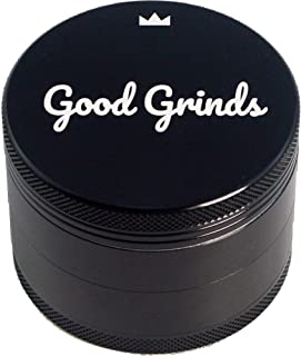 "Good Grinds 4-piece 2.5"" Anodized Aluminum Grinder with Pollen Catcher (Black)"