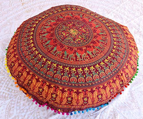 "Traditional Jaipur Floral Camel Peacock Mandala Floor Cushion, Decorative Throw Pillowcase 32"", Indian Pouf, Boho Ottoman, Pom Pom Outdoor Cushions, Pillow Sham, Pet Dog Cat Bed Without Filler Insert"