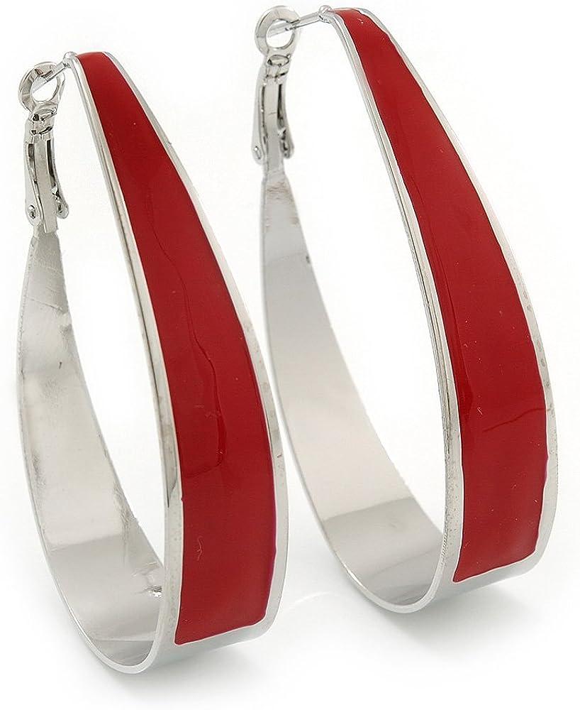 Rhodium Plated Red Enamel Oval Hoop Earrings - 7.5cm Long