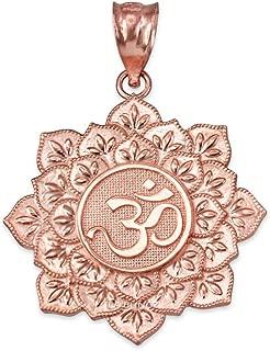 10K Rose Gold Om Lotus Mandala Pendant Necklace