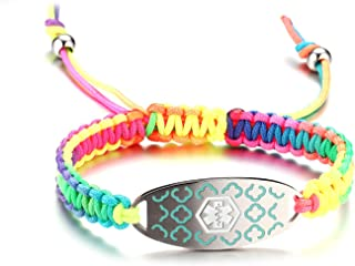 Medical Alert ID Bracelet for Women Girls Multicolor Rainbow Braided Allergy Bracelets for Kids,Free Engraving
