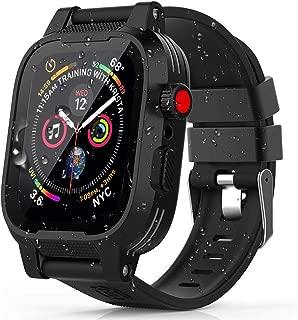 Apple Watch 40mmケース バンド 一体 アップルウォッチ4 バンド カバー 落下衝撃 吸収 シリコンバンド 柔らかい スポーツに向け 交換バンド 装着簡単 高級感 防汗防水Apple Watch Series 4に対応(ブラック 40mm)
