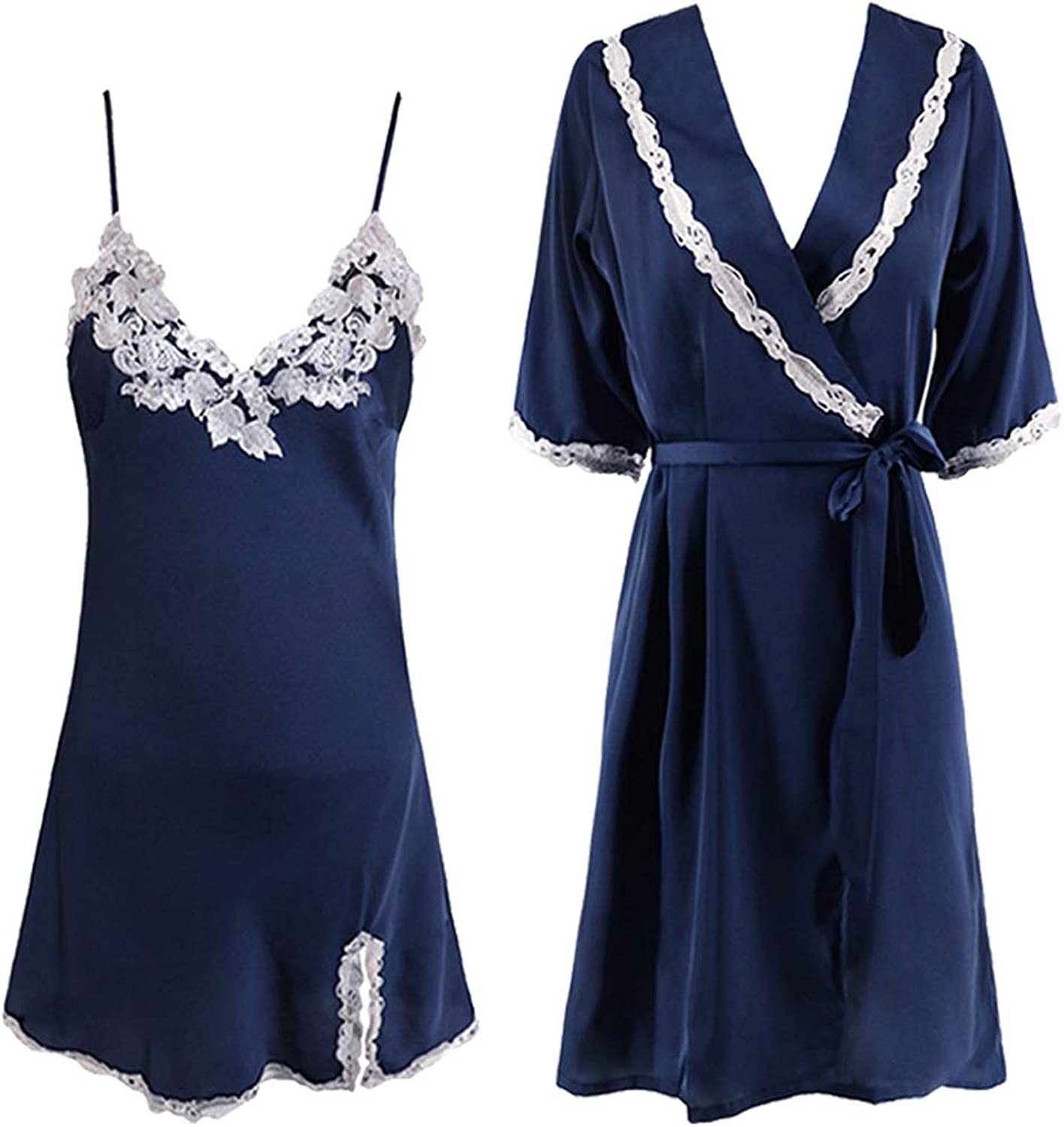 Home Service Female Sexy VNeck Lace Side Strap Pajamas Long Section Home Robe TwoPiece Suit (color   Navy, Size   L)