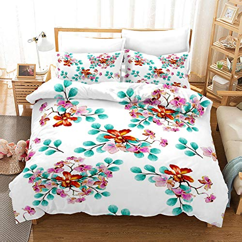 aakkjjzz Superking Duvet Covers Easy Care Hypoallergenic 3 Pcs Bedding Set Microfiber Machine Washable Quilt Cover 220X260cm And 2 Pieces Pillowcases 50X75cm Beautiful Flowers for Super King Size Bed