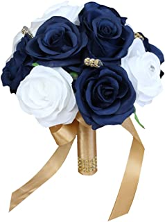 Angel Isabella Build Your Wedding Package-Artificial Flower Bouquet Corsage Boutonniere Rose Calla Lily Navy Gold Wedding Theme (8