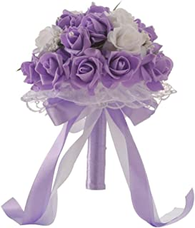 ZTTONE Wedding Bouquet, Crystal Roses Bridesmaid Wedding Bouquet Bridal Artificial Silk Flowers (Purple)