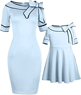 PopReal Mommy and Me Dresses Sweet Bowknot Decorated Party Elegant Midi Matching Outfits