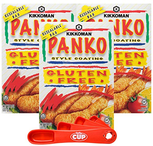Kikkoman Panko Style Coating, Gluten-Free, 8 Ounces (Pack of 3) with By The Cup Swivel Spoons