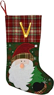 69PF-1 Christmas Stocking Gold Fire V Letter Fireplace Decoration Socks Candies Toys Gifts Party Accessory